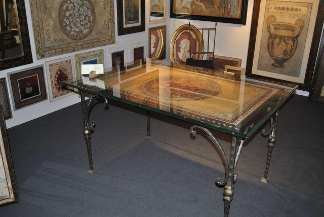 Tavolo in ferro battuto con piano in legno decorato 1700 00 - Tavolo ferro battuto e vetro ...