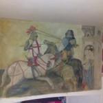 """Dipinto anticato su muro """"Battaglia medievale"""""""
